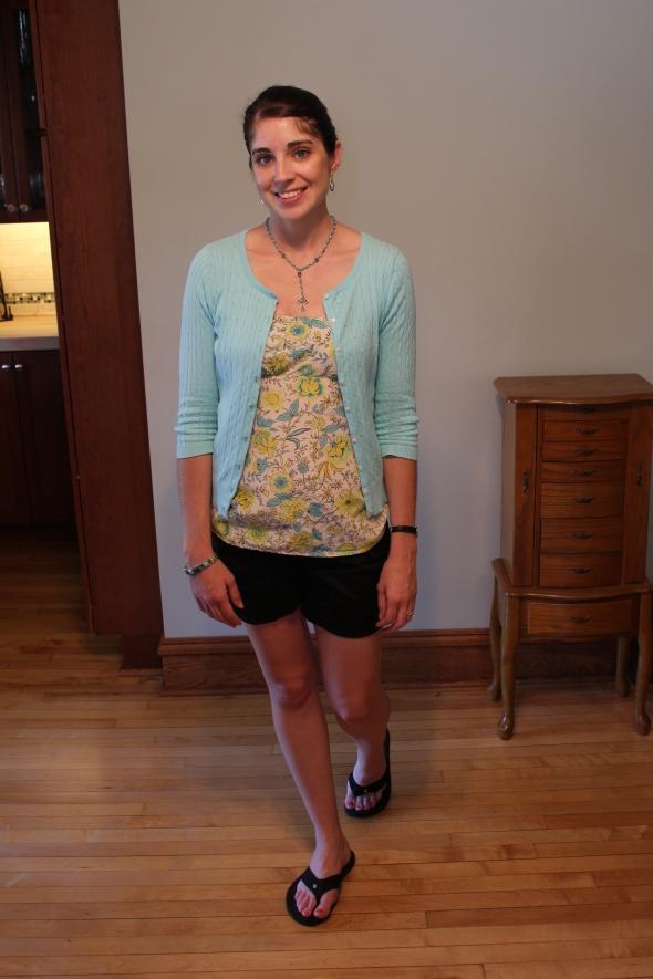 neon, floral, aqua, strapless, shorts, cardigan